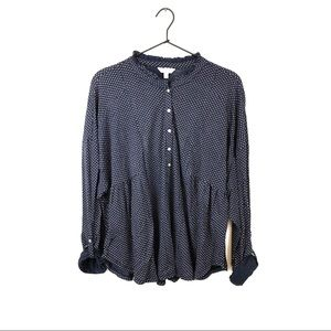 Lucky Brand Polka Dot Peplum Long Sleeve Top